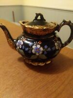 Vintage Glazed Teapot Handpainted made in England   before 1930. Marked 3548