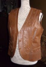 Pamela McCoy Cognac Leather Vest with Hand Stitching Front & Back