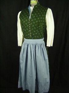 DIRNDL-ECKE Vtg White Lace Top/Green Dress/Blue Apron 3 pieces-Bust 37/S