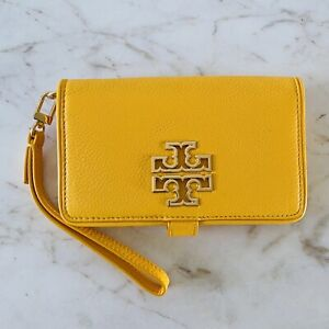 TORY BURCH Britten Solid Yellow Soft Leather Smart Phone Wallet Wristlet
