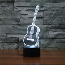 Guitar Shape Illusion Bulbing 3D LED Night Light 7 Color Touch Switch Desk Lamp