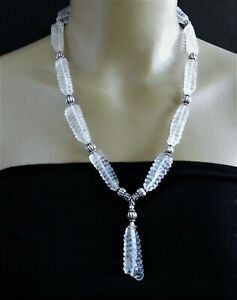 Art Deco Carved Rock Crystal Sterling Silver Necklace (P36)