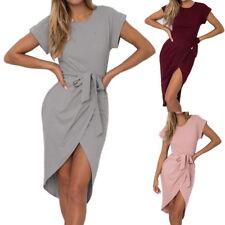 Summer Womens Waistband Shirtdress Party Crewcenk Bodycon Prom Knee Length Dress