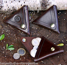 Fait Main en Relief Marron & Laiton 2.5 mm en cuir doublesided triangulaire Purse/Wallet
