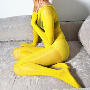 Men Women Oil Shiny Glossy Bodystocking Tights Bodyhose Catsuit Sheer Bodysuit