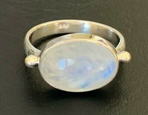 925 Sterling Silver Rainbow Moonstone Large Oval Gemstone Ring Size 6 7 8 9 10