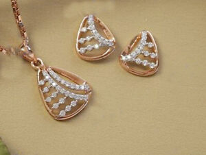 1.74CT NATURAL ROUND DIAMOND 14K SOLID ROSE GOLD PENDANT SET WITH EARRING