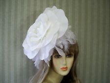 "Wedding Rose Fascinator, 12"" White Rose, Tea Party, Halloween, Kentucky Derby"