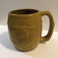 Vintage 1933 FDR 'The New Deal' Whisky Barrel Mug - Roosevelt Silhouette Shield