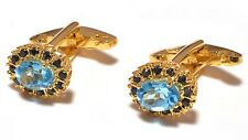 Topaz & Sapphire Gem Stone Men's Cufflink 14 K Solid Yellow Gold Natural Blue