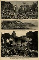 Italy island Ischia earthquake natural disaster ruins 1881 old view print
