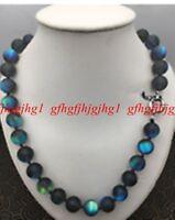 Natural 8/10 /12mm Gray Gleamy Rainbow Moonstone Round Gems Necklace 18 ''