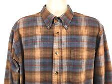 Cabela's Flannel Shirt Size Medium Tall Brown Light Blue Long Sleeve Plaid
