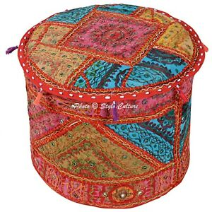 Bohemian Round Mirrored Ottoman Embroidered Patchwork Pouf Cover Indian Cotton