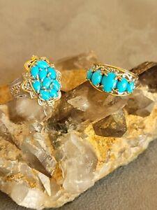 Gems en Vogue Sterling Siver Sleeping Beauty Turquoise Rings. Sz 7 & 8