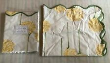 RARE MATOUK CHARLOTTE Pair Standard Shams Yellow Olive Green Scallop Flower NWT