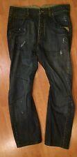 CALVIN KLEIN JEANS LONGRISE CUT Men's Jeans 34x30 BUTTON FLY FACTORY DESTROYED