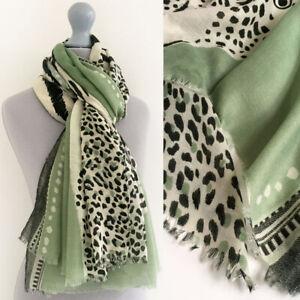 Large Leopard Print Scarf Green Cream Animal Big Long Cotton Shawl Wrap Pashmina