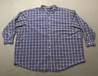 Men's Ralph Lauren Blue Red Plaid Long Sleeve Button Up Shirt Sz 6XB Big & Tall