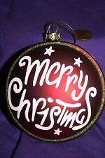 Blown glass ornament Merry christmas glitter
