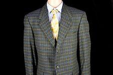 Loro Piana Kaiser Sport Coat Green Window Pane Check 3 button 43 Wool Cashmere