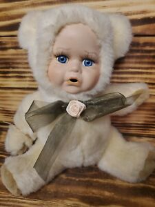 """RARE Babes in the Wild Series, """"Woody"""" Plush Toy, Porcelain Face Bear"""