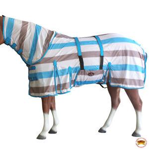 Horse Fly Sheet Uv Protect Mesh Bug Mosquito Summer Turquoise Grey U-S106