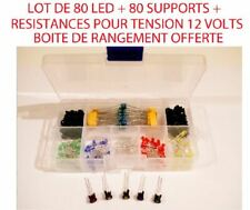 Jouef 80 Led + Support Mix Vert/Rouge/Jaune/Blanche/Bleu 3mm 12v + 80 R 510 Ω