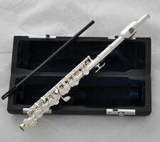 TOP New Silver plated Piccolo Flute C Tone Italian pad With Case FREE SHIPPING
