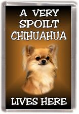 """Chihuahua Dog No 2 Fridge Magnet """"A VERY SPOILT .. LIVES HERE"""" by Starprint"""