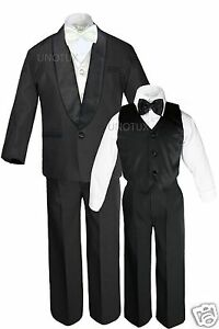 Boys Satin Shawl Lapel Suits Tuxedos EXTRA Ivory Bow Tie Vest Sets Outfits S-18