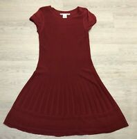 Stunning Ladies MAX STUDIO Maroon Knitted A Line Dress Large 16 18