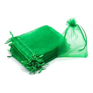 Dealglad 100Pcs 3x4 Organza Bag with Drawstring, Green Small Mesh Jewelry Party
