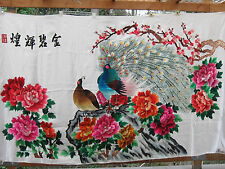 Huge Vtg Chinese Silk Hand Embroidery unframed textile panel art  金碧輝煌