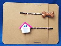 DOG HOUSE & BONE Animal Handmade Bobby PIn Hair clips - Set of 2