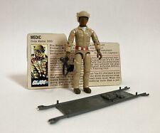 GI JOE MEDIC DOC Action Figure Stretcher Gun Helmet & File Card Hasbro 1983