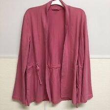 Eileen Fisher Jacket Drawstring Waist Open Sz XS Pink Organic Cotton Spring