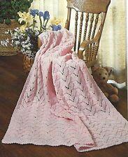 "Baby Blanket /Shawl ""Peppermint Ripple"" Aran Knitting Pattern 40 x 40"" 894"