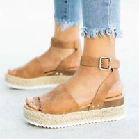 Women's Ankle Strap Flatform Wedges Shoes Espadrilles Summer Platform Sandals