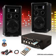 PA Party Kompakt Musik Anlage Boxen Verstärker USB MP3 SD Bluetooth Cinch Kabel