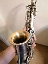 Old soprano curved saxophone Buescher true tone,amazing vibe! Silver plated Sax