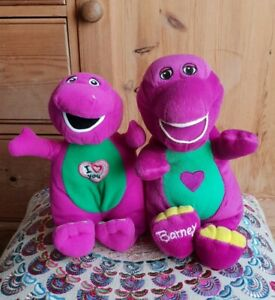 Bundle Lot 2 Mattel Fisher-Price Barney Dinosaur Talking Singing Plush Soft Toys