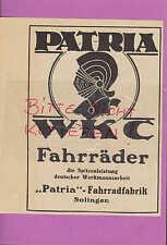 SOLINGEN, Werbung 1934, Patria-Fahrrad-Fabrik WKC Fahrräder