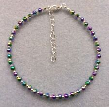 """Rainbow Bead Ankle Bracelet Anklet 9"""" With Extender Chain Sparkly, like stardust"""