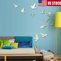DIY Removable Home 3D Mirror Wall Stickers Decal Art Vinyl Room Decor Birds US