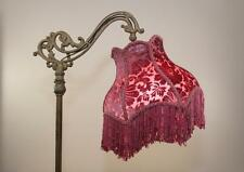 Bridge Floor Lamp Shade Victorian Style Velvet Burnout Panel Shade in Rose Color