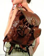 Langellotti Vintage Brown Distressed Leather Studded Backpack Bag Italy NWT