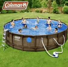 "Coleman 18' x 48"" Power Steel Swim Vista Series II Swimming Pool Set with window"
