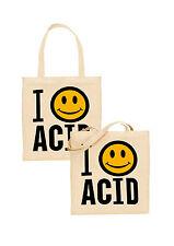 i love acid tote bag smiley face acid house rave techno psychedelic festival