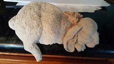 Resin Sleeping Shelf Sitting Sleeping Bunny Rabbit, Shelf or Garden rock